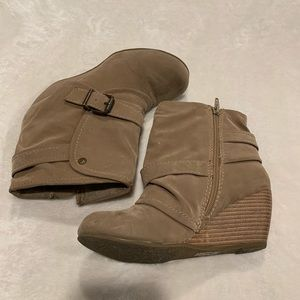 Tan belted booties